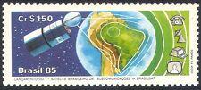 Brésil 1985 espace/communications/télécom/satellite/cartes/tv/téléphone 1v (n29476)