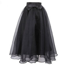 Gorgeous Layered Black Satin Bow Tulle Organza Swing Midi Skirt OS