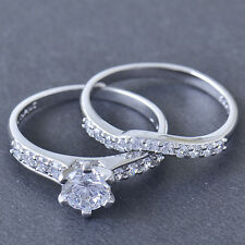 Womens Wedding White Gold Filled CZ 2-Ring Engagement Set,promise love size 7