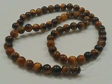 10 Tiger's Eye Natural Gemstone Beads, 6mm, Hole: 1mm