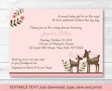 Pink Willow Deer Baby Girl Printable Baby Shower Invitation Editable PDF