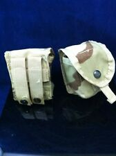 Lot of 2 Nice GENUINE USGI MOLLE II HAND GRENADE POUCH DESERT CAMO Good Cond.