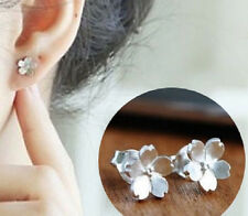Cherry Blossom Flower Earrings .925 Solid Sterling Silver Stud Jewelry Easter