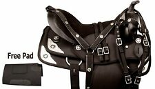 16 17 18 BLACK SYNTHETIC HORSE WESTERN PLEASURE TRAIL SADDLE TACK SET PAD