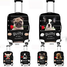 "Cute Pug Dog Travel Luggage Trolley Suitcase Protection Cover Elastic 20"" to 30"""
