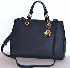 MICHAEL Michael Kors Cynthia Md  NS Navy Leather Satchel-Shoulder Bag $348