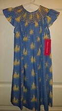 Claire & Charlie Smocked Nautical Boat Dress Girls 6 Angel Sleeve Blue Yellow
