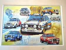 A MK2 FORD ESCORT RS MONTAGE PRINT FEATURING THE ROTHMANS ESCORT