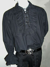 NEW Goth/ Gothic/ Pirate Men's Black Ruffle Frill Cotton Shirt, XL