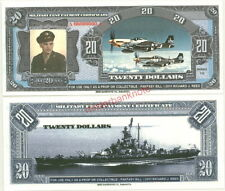 WWII AIR CORPS P-51 MUSTANG/BATTLESHIP MASS. $20 SPECIMEN MILITARY FANTASY MPC!