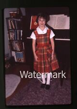 1960s amateur 35mm Photo slide Tween girl standing by piano   music