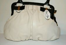 BARR & BARR AUTHENTIC GENUINE OFF WHITE CREAMY SOFT PEBBLED LEATHER HOBO HANDBAG