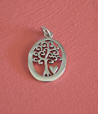 925 Sterling Silver Oval Tree of Life w/ Heart Pendant Charm w/ Jump Ring