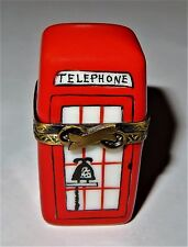 LIMOGES BOX- RED BRITISH TELEPHONE BOOTH & PHONE - PHONE KIOSK - LONDON ENGLAND