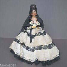 Vintage Spanish Señorita Doll Dressed in Traditional Lace Dress with A Fan -D125