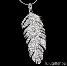 18K WHITE GOLD PLATED BIRD FEATHER STYLE PENDANT NECKLACE USE SWAROVSKI CRYSTALS