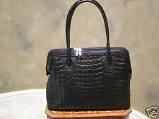 NEW ORE10 Italian crocodile embossed leather handbag satchel purse made in ITALY