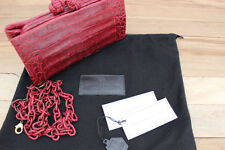 Nancy Gonzalez $2,150 Deep Red Crocodile Knot Clutch with Detachable Strap
