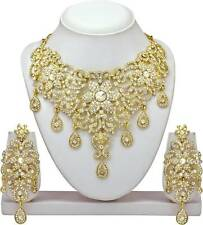 Indian Traditional Ethnic Gold plated Diamond Stud Necklace Earrings Jewelry set