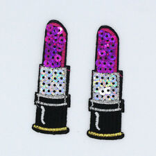 2PC NEW Purple Lipstick Sequin Embroidered Iron On Patches Sew Motif Appliques