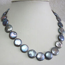 12-13mm Natural Black Freshwater Pearl Coin Pearl Necklace 18''