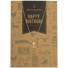 Timi ancre charme or collier & vintage carte de vœux joyeux anniversaire, cadeau