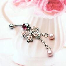 Fashion Butterfly Bow Dangle Steel Navel Belly Ring Body Piercing Jewelry Pink