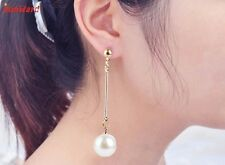 Handmade Womens Imitation Pearl Ear Stud Pearl Long Dangle Earring