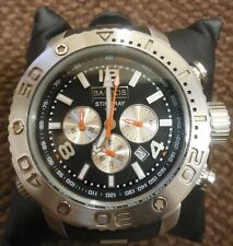 Mens Barbos Stingray Chronograph Divers Watch Black Silver 1000m BOXED