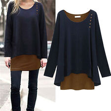Womens Irregular Long Blouse Shirt Loose Tunic Sweater Pullover Tops Plus Size