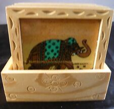 GEMSTONES CRUSHED PAINT COASTERS 6 SET IN WOOD ELEPHANT/MAHARANI/CAMEL ELEGANT