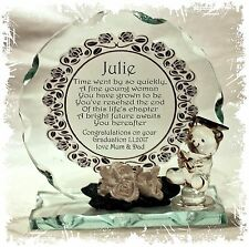 Graduation Teddy  Round Cut Glass Plaque + Poem Personalised Unique Gift #1