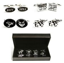 Wall Street Stock Broker Trader 4 Pairs Cufflinks Bull Bear Groom Fancy Gift Box
