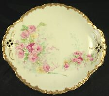 LIMOGES FRANCE ELITE WORKS Pink & Yellow Roses Gold Rim w/Lacy Cutouts