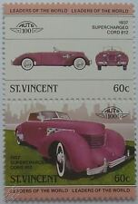1937 CORD 812 SUPERCHARGED Car Stamps (Leaders of the World / Auto 100)