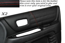 RED STITCH 2X FRONT DOOR CARD TRIM SKIN COVERS FITS LEXUS IS200 98-05