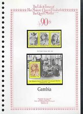 Gambia 1990 Queen Mothers, 90th Birthday MNH Set + M/S On Page #V203