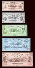 Hawaii, Kingdom, Faux Set (Reproduction) 10;20;50;100;500 Dollars, 1879