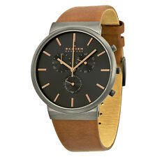 Skagen Ancher Chronograph Grey Dial Brown Leather Mens Watch SKW6106