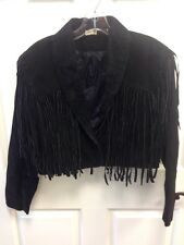 Styleworks Black Suede Cropped Jacket Fringe & Tassels Size S Sexy & Beautiful!