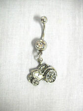 NEW FIELD TRACTOR SEXY FARMER GIRL DANGLING PEWTER CHARM ON CLEAR CZ BELLY RING