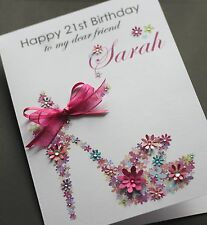 LARGE A5 Handmade Personalised FLORAL SHOE Birthday Card sister, friend, mum