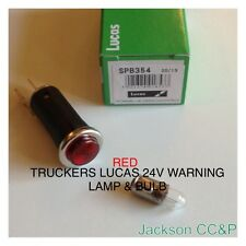 TRUCKERS LUCAS RED 24V DASH WARNING LAMP WITH BULB FITTED & TESTED