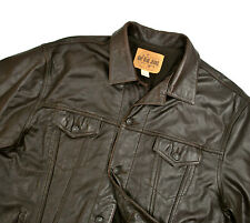 Gap Leather Trucker Jacket XXL 50R Dark Brown Jean Motorcycle Vtg Excellent 2XL