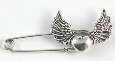 Silver Colour Winged Heart Pin Brooch ideal for kilt, scarf, cardigan etc