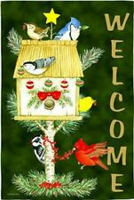 "Welcome Holiday Birds Christmas Garden Flag Seasonal Yard Banner 12.5"" x 18"""