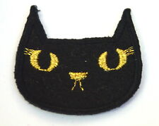 BLACK CAT HEAD WITCH LUCKY  Embroidered Iron Sew On Cloth Patch Badge  APPLIQUE