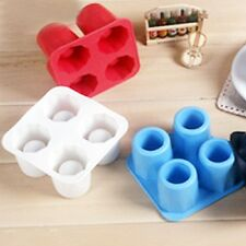 4-Cup Ice Cube Shot Shape Silicion Shooters Glasses Freeze Mold Maker Tray party