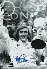 Jackie Stewart Hand Signed 12x8 Photo F1 Podium.