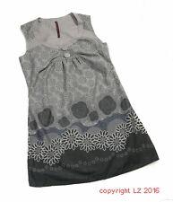 L168/10 double one arty bohème coton motif floral gris français, robe uk 12 euro 40